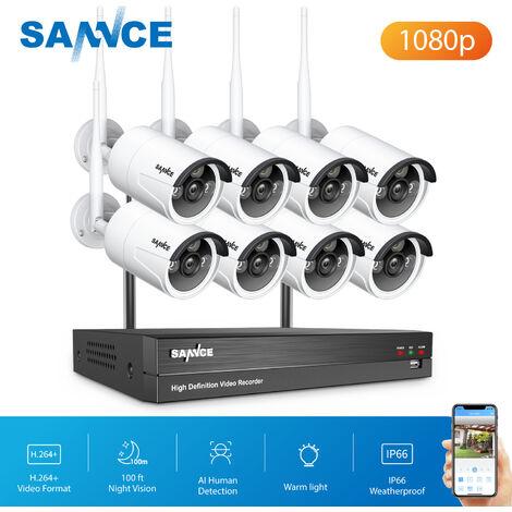 Kits de videovigilancia SANNCE Sistema de cámara de seguridad IP WiFi de 8 canales con 8 piezas 1080p Cámaras de vigilancia CCTV inalámbricas para exteriores AI Detección humana sin disco duro