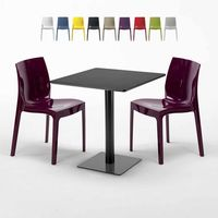 KIWI Set Made of a 70x70cm Black Square Table and 2 Colourful ICE Chairs