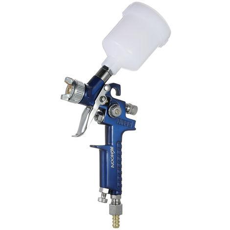 KKmoon 0.8mm Mini HVLP Air Pistolet Airbrush Kit Peinture de retouche Pulverisateur alimentation par gravite Set Aerographe peinture voiture automatique pour Spot Repair