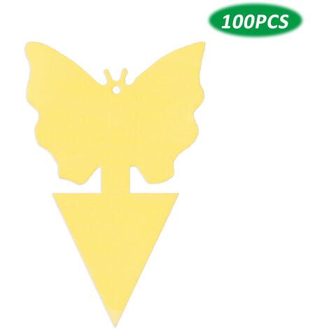 KKmoon 100 trampas adhesivas para insectos de doble cara, trampas adhesivas para insectos voladores, plantas de interior y exteriores, papel para moscas, para moscas de frutas, hongos, mosquitos, Thrip, 100 unidades