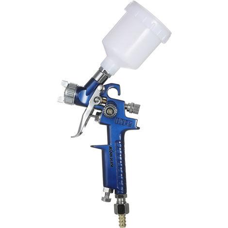 KKmoon 1.0mm Mini HVLP Air Pistolet Airbrush Kit Peinture de retouche Pulverisateur alimentation par gravite Set Aerographe peinture voiture automatique pour Spot Repair