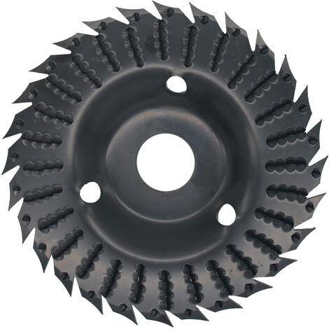KKmoon 1pcs amoladora angular disco abrasivo 28 Dientes de madera Muela abrasiva del disco de la carpinteria de madera Shaping disco, Negro, 1pcs