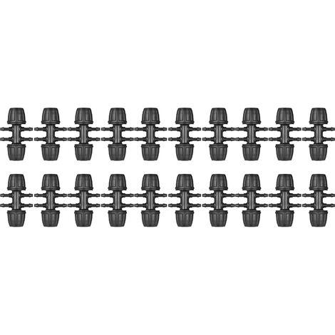 KKmoon 20 Piezas de puas tee riego por goteo Tuberia Conectores de manguera Conjunto 1/2 pulgada a 1/4 pulgada 6 Camino Adaptador de Insercion, Negro, S