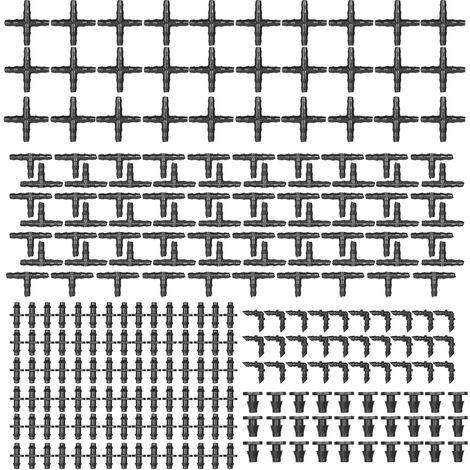 KKmoon, 250 Piezas de riego Fitting Kit de riego por goteo de puas conectores compatibles con conectores de 1/4 de pulgada de agua de la manguera de jardin de cesped sistemas de goteo (30 Acoplamiento de 4 vias, 30 codos, 90 puas rectas, extremo del enchu
