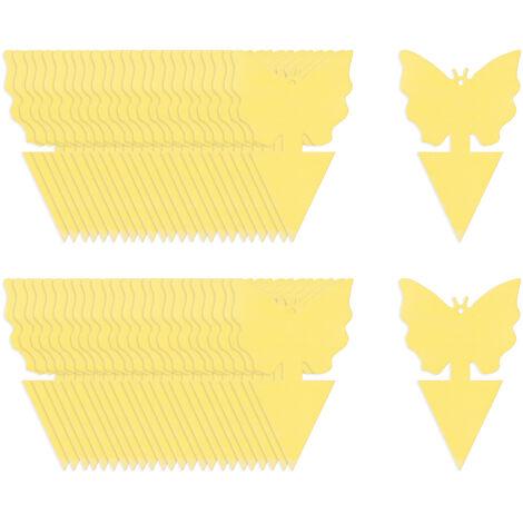 KKmoon 50 trampas adhesivas para insectos de doble cara, trampas adhesivas para insectos voladores, plantas de interior al aire libre, papel de mosca para moscas de frutas, mosquitos, mosquitos, moscas, 50 unidades, mariposas