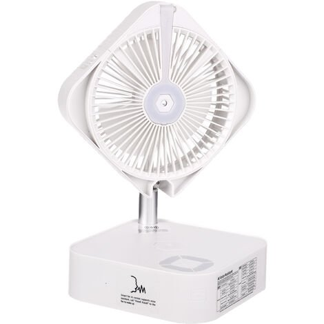 KKmoon AI ventilateur escamotable pliant intelligent de bureau ventilateur electrique USB ventilateur pliable silencieux anglais Veilleuse a trois vitesses a commande vocale avec illuminateur