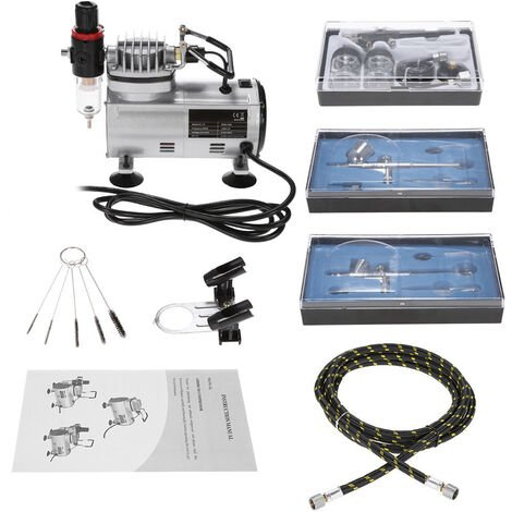 KKmoon Brand New Professional 3 Airbrush Kit With Air Compressor Dual-Action Hobby Spray Air Brush Set