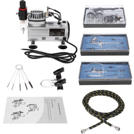 KKmoon Brand New Profi Airbrush Kit mit 3 Luftkompressor hat doppelte Wirkung Hobby Air Spray-Bursten-Satz-Nagel-Kunst-Tatowierung-Energie Malerei w / Pinsel Reinigung