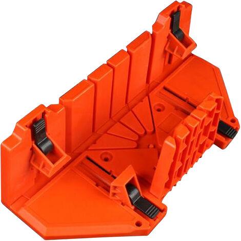 KKmoon, caja de ingletes de 14 pulgadas con mordaza movil y antideslizante para angulos de ranura de sierra trasera de 45 / 22,5 / 90 grados, caja de aserrado y sujecion para carpinteria, Orange, 14 pulgadas