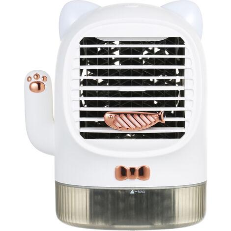 Kkmoon Climatiseur Usb Ventilateur Rechargeable Quiet Bureau Ventilateur Cooler Fan Evaporatif Humidifier Huile Essentielle Diffuseur Avec La Lumiere