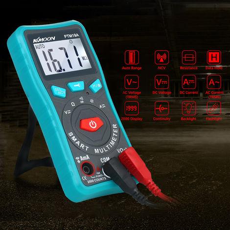 KKmoon compacto portatil de verdadero valor eficaz con escala automatica AC DC DMM / Digtal multimetro Voltaje / Resistencia / Continuidad / sin contacto de tension / corriente Tester Comprobador Detector Meter, Tipo A