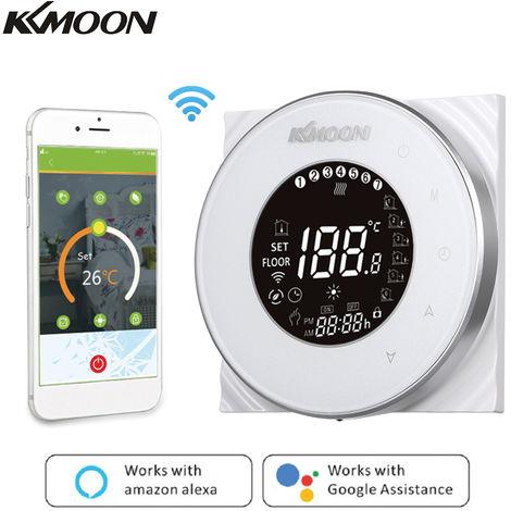 KKmoon, Digital calentamiento de agua Termostato, con conexion Wi-Fi y control de voz, CA 95-250V 5A, blanco