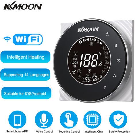 KKmoon, Digital calentamiento de agua Termostato, con conexion Wi-Fi y control de voz, CA 95-250V 5A, negro