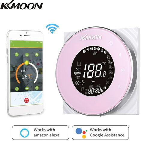 KKmoon Digital del Agua de calefaccion con termostato de conexion WiFi y Voz de Control AC 95-250V 5A Temperatura pantalla tactil LCD Controlador de Sala, Rosa, tipo 2