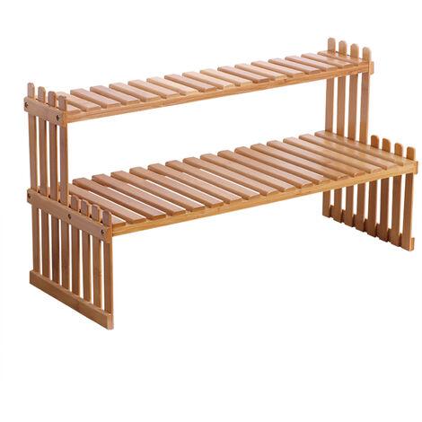 KKmoon - Estante para plantas de bambu para encimera, 2 niveles, soporte para macetas de bambu, balcon, estante para flores, organizador de gabinetes, multifuncion, bricolaje, estante de almacenamiento de escritorio, 57 cm y 2 capas