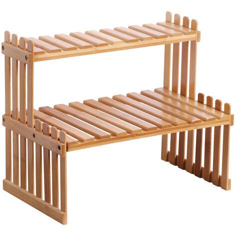 KKmoon Estante para plantas de bambu para encimera, 2 niveles, soporte para macetas de bambu, balcon, estante para flores, organizador de gabinetes, multifuncion, estante de almacenamiento de escritorio para bricolaje, 37 cm y 2 capas