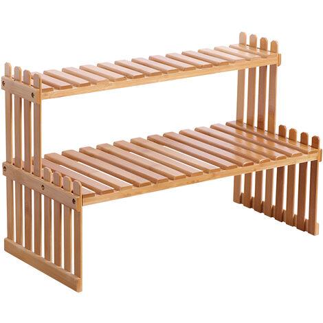 KKmoon Estante para plantas de bambu para encimera, 2 niveles, soporte para macetas de bambu, balcon, estante para flores, organizador de gabinetes, multifuncion, estante de almacenamiento de escritorio para bricolaje, 47 cm y 2 capas