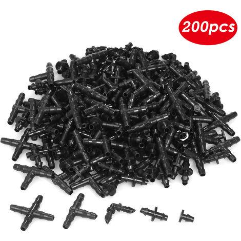 KKmoon Kit de accesorios de riego de 250 piezas, conectores de puas para riego por goteo, conectores de manguera de agua de 1/4 de pulgada