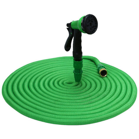 KKmoon Manguera de jardin Manguera elastica Manguera de agua expandible Manguera de riego de expansion flexible con boquilla de pulverizacion, Verde, 50 pies