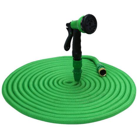 KKmoon Manguera de jardin Manguera elastica Manguera de agua expandible Manguera de riego de expansion flexible con boquilla de pulverizacion, Verde, 75 pies
