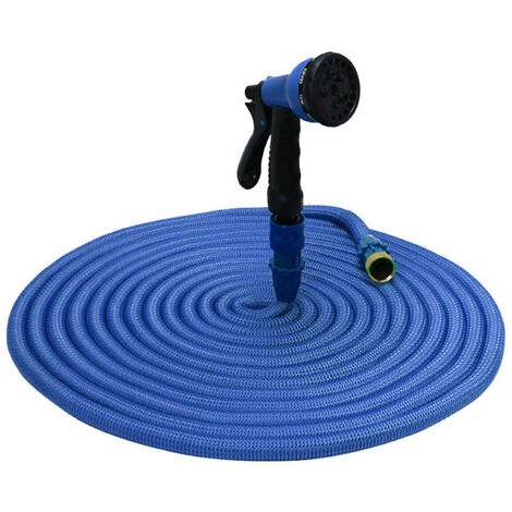 KKmoon Manguera de jardin Manguera elastica Manguera de agua extensible Manguera de expansion flexible Manguera de riego para cesped con boquilla rociadora, Azul, 200 pies
