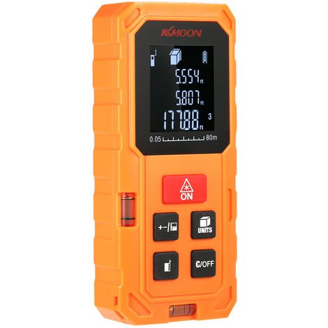 KKmoon, Medidor de distancia laser digital, telemetro, 80 m, naranja