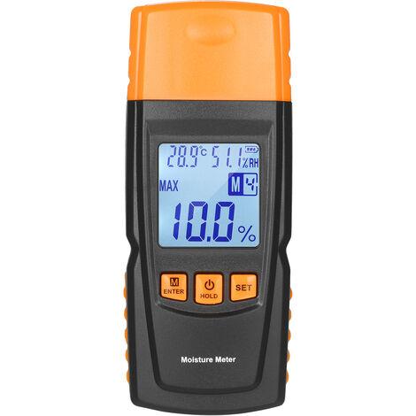 KKmoon Medidor de humedad de madera digital 3 en 1 Analizador de contenido de agua de lena Temperatura ambiente + Humedad + Probador de humedad de madera con retroiluminacion para madera de madera para trabajar la madera, Tipo 1