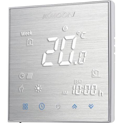 Kkmoon Numerique Chaudiere / Chauffage Au Gaz Thermostat D'economie D'energie Ac 95-240V 5A Lcd ecran Tactile Temperature Ambiante Controleur, Aluminium Brosse, Type 1 Sans Wifi