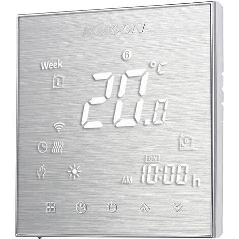 Kkmoon Numerique Eau / Gaz Chaudiere De Chauffage Thermostat Avec Connexion Wi-Fi Connexion Et Controle De L'energie Enregistrement Voix, Aluminium Brosse, Type 2 Avec Wifi