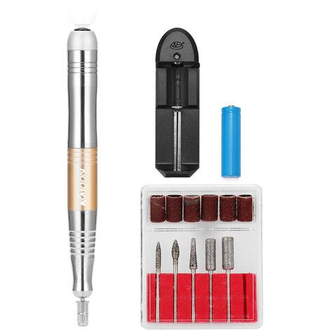 KKmoon portatil de manicura electrico recargable pequena amoladora de pulido electrica de la pluma de usos multiples Exfoliante sistema de herramienta de la armadura, de oro, enchufe de la UE