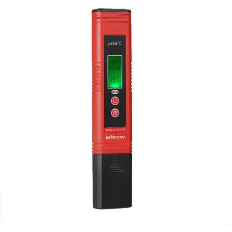 KKmoon Professional & pH-007 pH Pen-Type economie d'energie Compteur de haute precision avec compensation automatique de temperature ATC Fonction d'etalonnage automatique et Retro-eclairage LCD Acidite testeur portable pH et de temperature Dispositif d'an