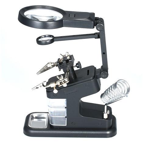 KKmoon TH7206 multi-fonctionnelle Soudage Loupe 3X / 4.5X / 25X LED de bureau USB Port Magnifier a souder stand de reparation de l'outil Loupe