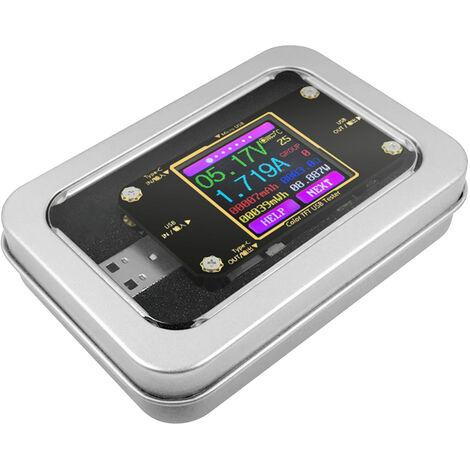 Kkmoon Type C Testeur Usb Avec Ecran Lcd Tft Couleur Usb Ecran Voltmetre Amperemetre Tension Testeur De Courant Bt Connexion App Telecommande Mini-Multimetre Numerique Avec Etui De Rangement De Fer