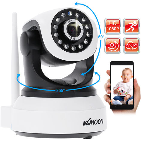 KKmoon, Wifi 1080P HD H.264 2MP red IP AP Home camaras de seguridad del IR P T Webcam /