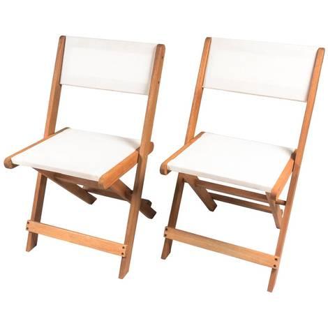 Klappbar Sonnenliege aus exotischem Holz Seoul - Maple - Beige - 2er-Set