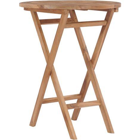 Klappbarer Gartentisch 60 cm Teak Massivholz