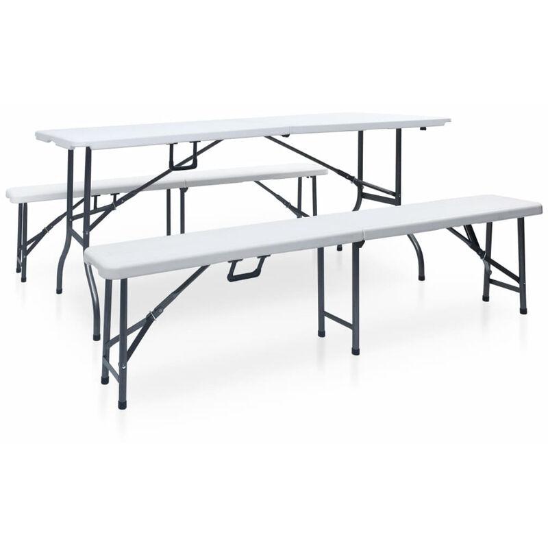 Klappbarer Gartentisch Mit 2 Banken 180 Cm Stahl Und Hdpe Wei?