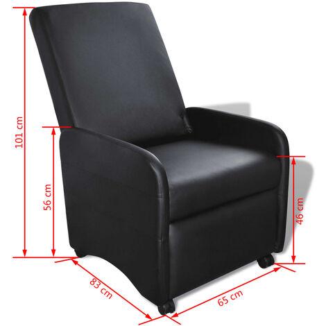 Ausklappbarer Sessel Schwarz Kunstleder -