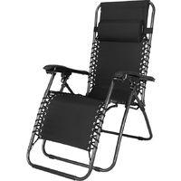 klappbarer Luxus Liegestuhl - Gartenhochlehner schwarz