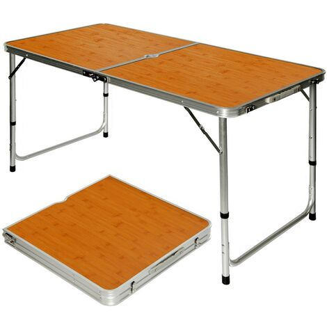 Klappbarer stabiler Campingtisch 120x60x70cm höhenverstellbar tragbar Kofferformat Aluminium Bambus