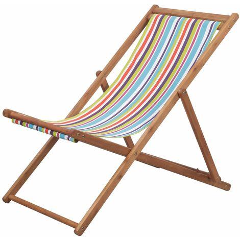 Klappbarer Strandstuhl Stoff und Holzrahmen Mehrfarbig