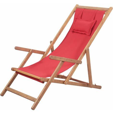 Klappbarer Strandstuhl Stoff und Holzrahmen Rot