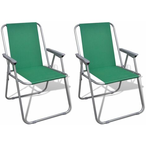 2er Set Klappstuhl Faltstuhl Liegestuhl für Camping Strand Garten Hellgrün