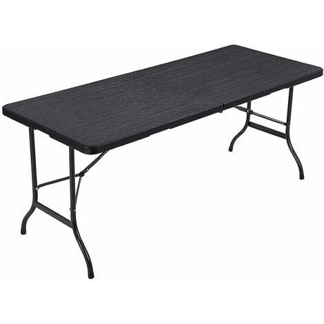 Klapptisch, großer Gartentisch, klappbarer Campingtisch, Sicherheitsriegel, Terrasse, Koffertisch, Buffettisch, 180 x 75 x 74cm, Schwarz