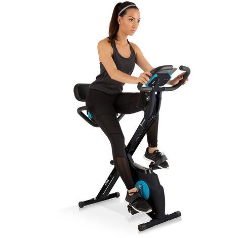 Klarfit Azura Plus 3-in-1 Exercise Bike, Flexible Drawstrings, Belt Drive, Black