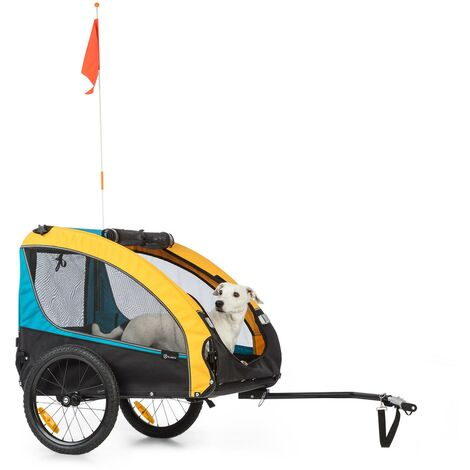 Klarfit Husky Race Remorque pour chien 282 L 40 kg toile Oxford 600D bleue