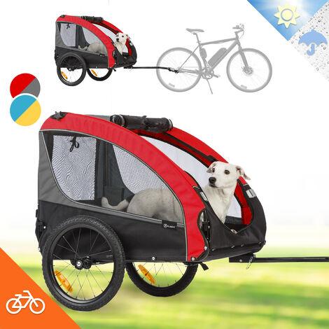 Klarfit Husky Race Remorque pour chien 282 L 40 kg toile Oxford 600D rouge