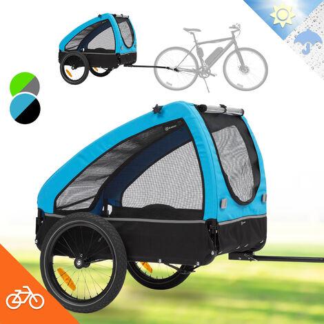 Klarfit Husky Remorque de vélo pour chien 250L 600D - toile Oxford bleue