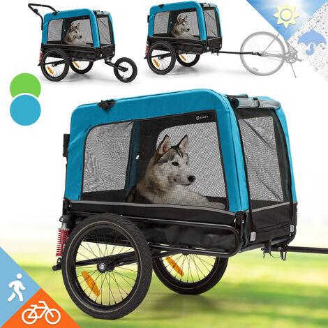 Klarfit Husky Vario 2 en 1 remolque de bicicleta para perros y carrito 240 l aprox. lona 600D Oxford azul