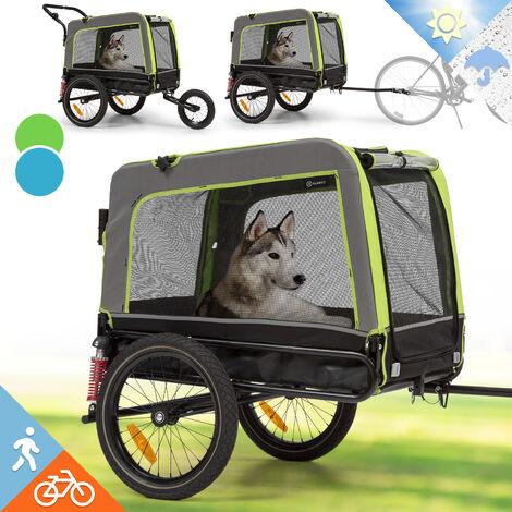 Klarfit Husky Vario 2 en 1 remolque de bicicleta para perros y carrito 240 l aprox. lona 600D Oxford verde